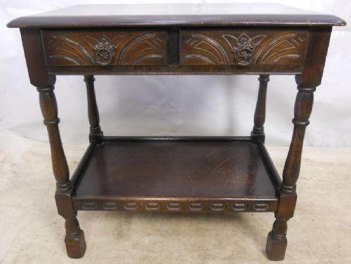Antique Jacobean Style Dark Side Table